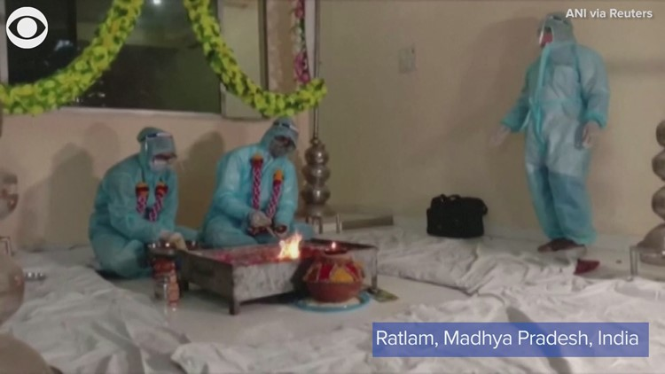 Couple in India got married in full COVID personal protective equipment