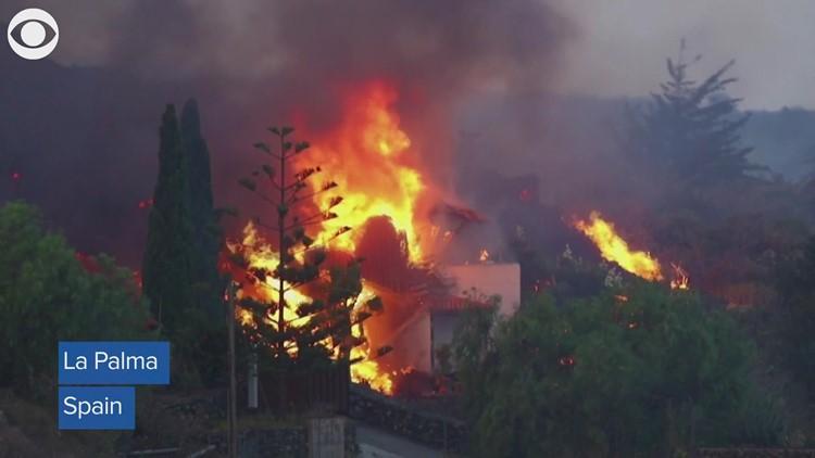 Lava destroys homes on La Palma island in Spain