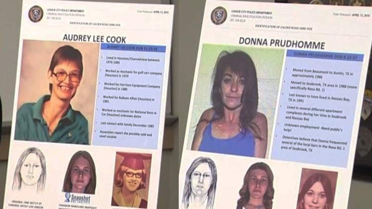 "Audrey Lee Cook and Donna Prudhomme have been identified by League City investigators as the final two ""Killing Fields"" victims"