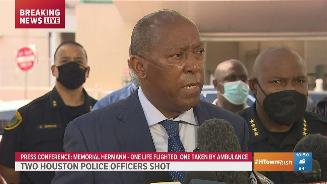 Houston Mayor Sylvester Turner said at a news conference that one officer shot Monday died