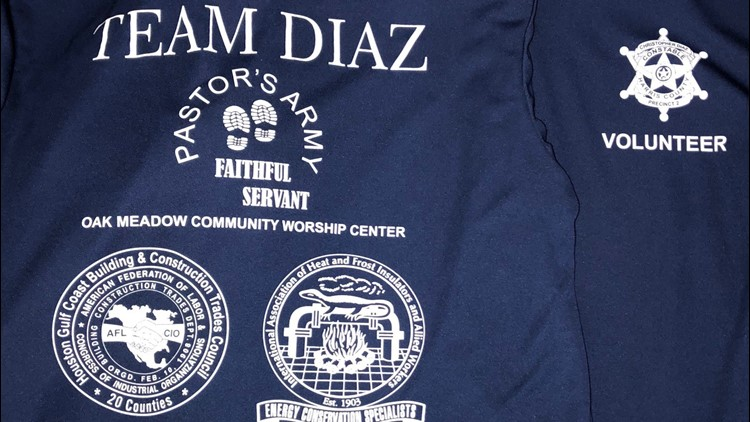 Christopher Diaz, the Harris County Precinct 2 constable, is facing tough ethical questions after at least 10 boxes of t-shirts intended for Hurricane Harvey victims were printed with his name and badge.