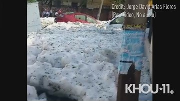 A blanket of hail and ice covered streets in Mexico's Guadalajara region on Sunday