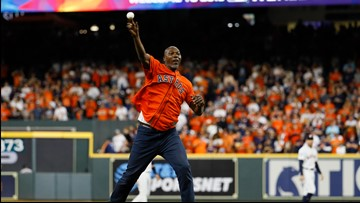 World Series Game 6: Hakeem Olajuwon throws out first pitch to Clyde Drexler