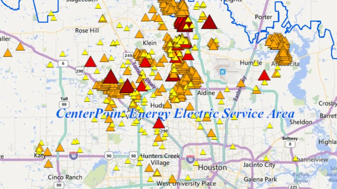 Houston Power Outage Map Map of power outages in my area in Houston, Texas | khou.com