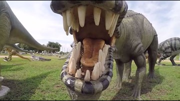 Giant concrete dinosaurs a BIG hit for Hempstead business
