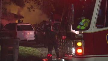 Raw: Garage fire on Greenmont in northwest Houston