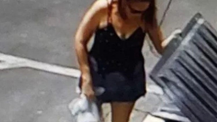 Woman is seen in still from surveillance video tossing bag with 7 newborn puppies into dumpster in Coachella, Calif.; authorities identified her as Deborah Culwell