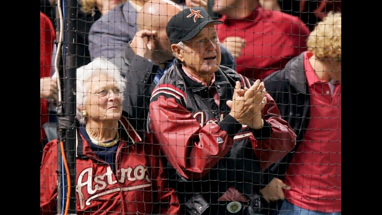 Former President George Bush and wife Barbara attend Game Four of the 2005 Major League Baseball World Series between the Chicago White Sox and the Houston Astros at Minute Maid Park on October 26, 2005. (Photo by Jed Jacobsohn/Getty Images)