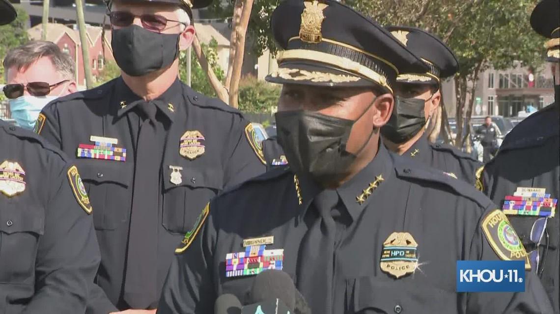 HPD Chief Finner speaks before procession for fallen officer Bill Jeffrey