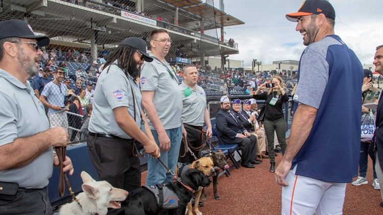 4 military veterans given service dogs through Verlander's charity