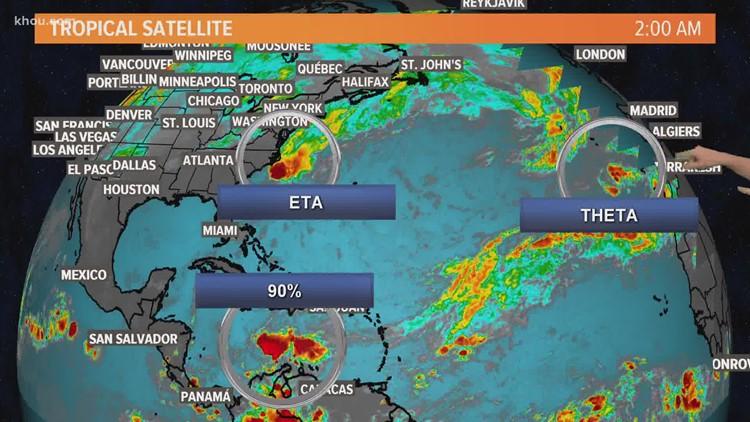 Tropics update: Tracking 3 disturbances, and yes Eta is still going