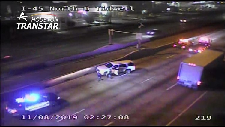 SUV chase wrong direction on I-45 North