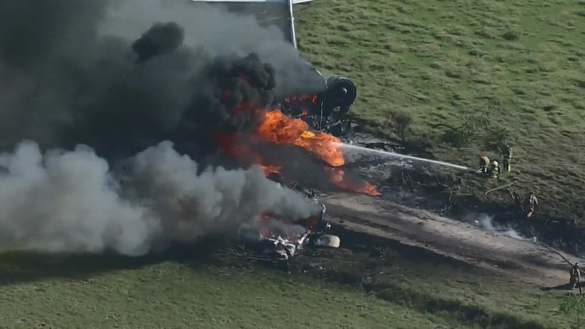 Team coverage: Plane headed to ALCS with 21 people on board crashes, catches fire near Houston