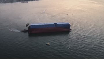 Raw Video: Aerial view of overturned cargo ship off Georgia coast