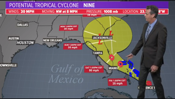 Gulf of Mexico disturbance now has 80 percent chance for