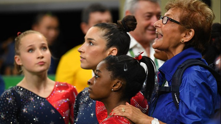 Team USA coordinator Martha Karolyi reacts during women's gymnastic qualifications in the Rio 2016 Summer Olympic Games at Rio Olympic Arena. (Robert Deutsch-USA TODAY Sports)
