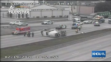 Traffic Alert: 610 South Loop reopens after overturned concrete mixer shut it down