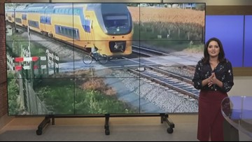 Close call caught on camera in The Netherlands shows cyclist narrowly avoiding oncoming train