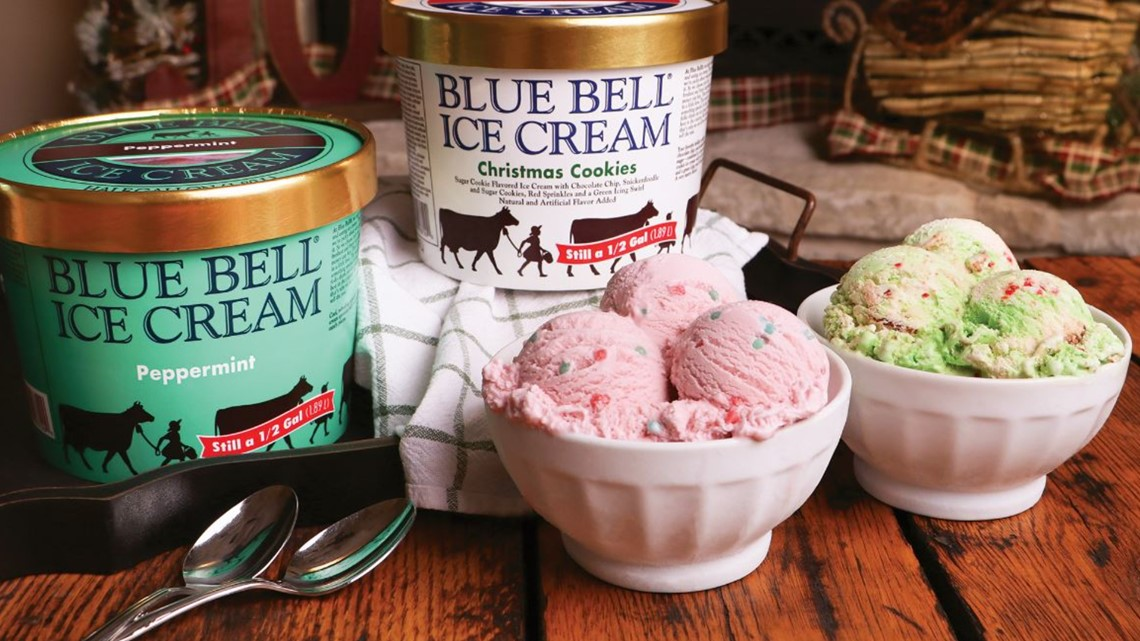 Bluebell Christmas Cookie Ice Cream 2020 Blue Bell holiday flavors 2020: Christmas Cookies and Peppermint