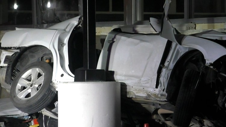 2 critically hurt when driver in Dodge Charger loses control at roundabout, slams into CVS in Seabrook