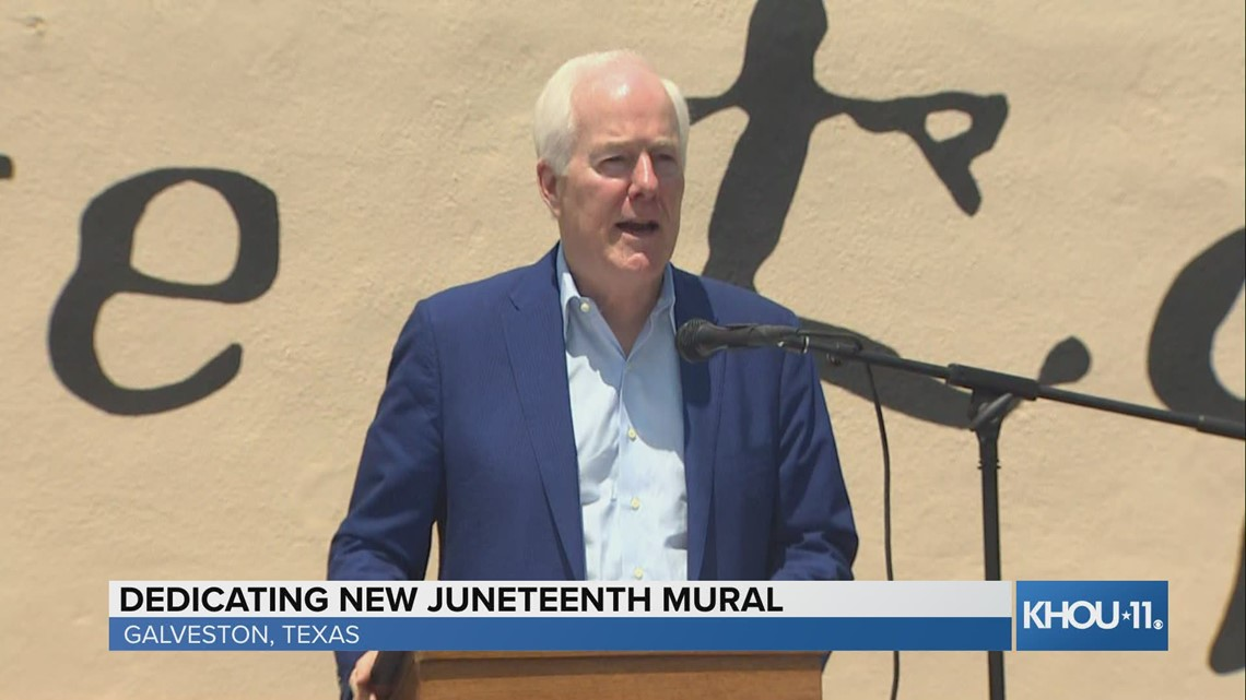 Sen. John Cornyn speaks at dedication of new Juneteenth mural in Galveston