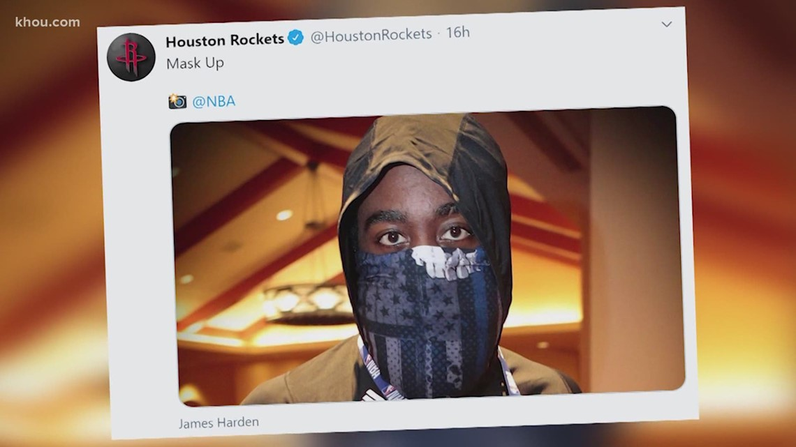 Harden said he didn't know he was wearing 'Blue Lives Matter' facemask
