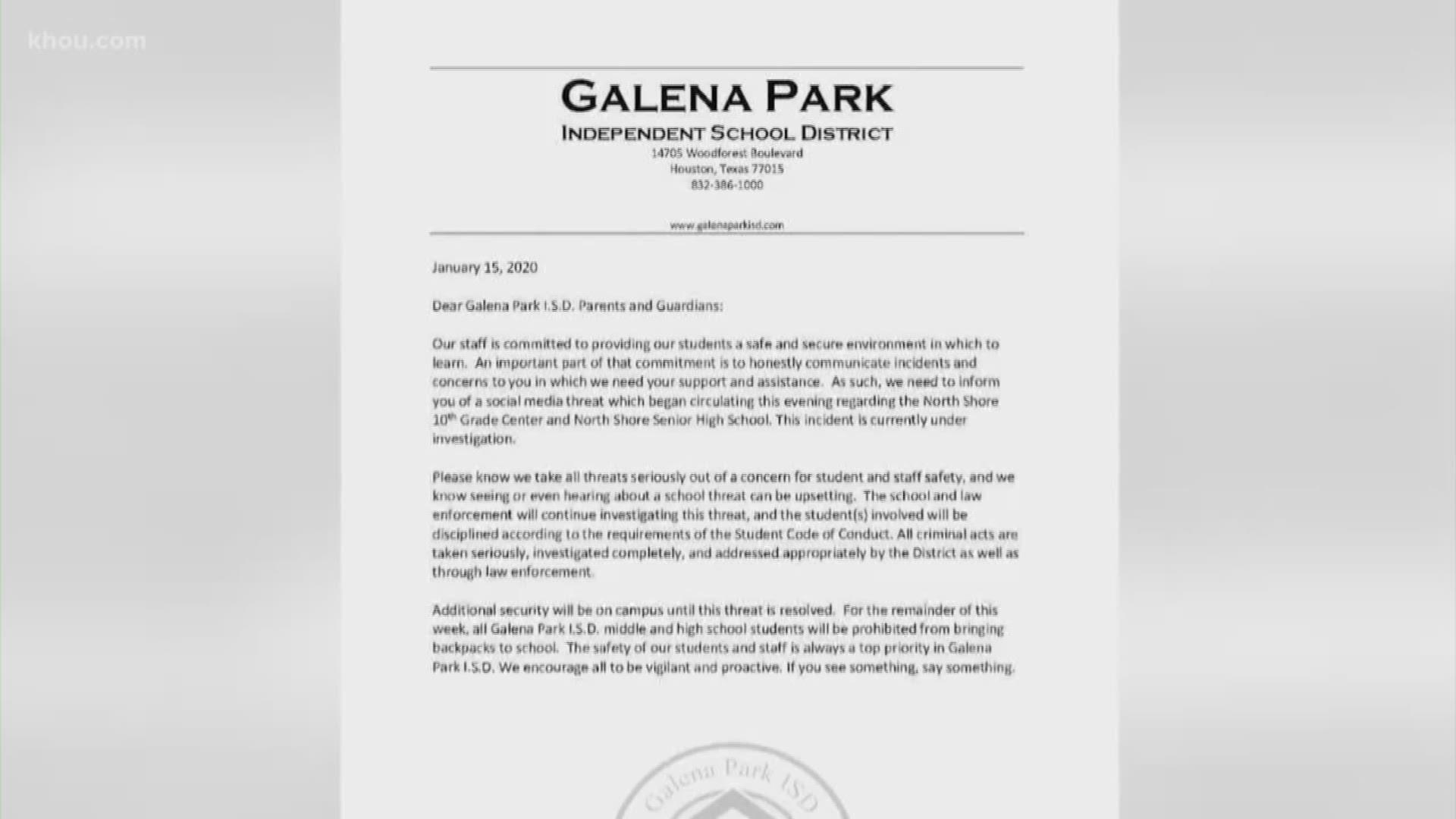 Rush Block Galena Park Isd Temporarily Bans Backpacks After Instagram Gun Threat Khou Com