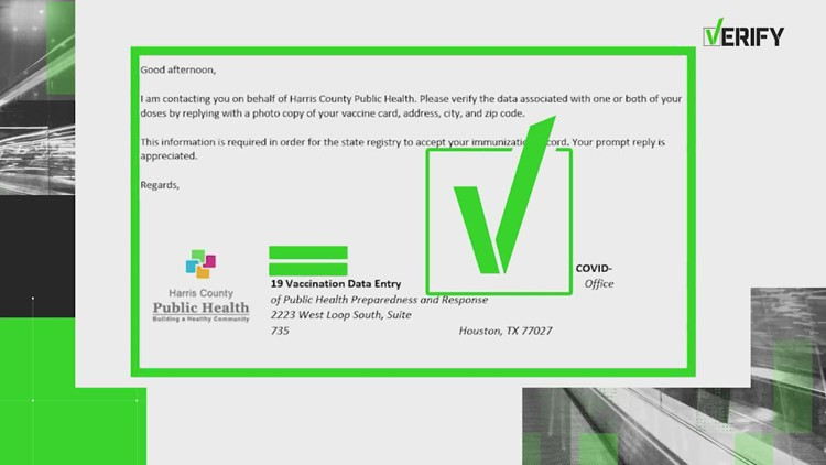 VERIFY: Yes, Harris County Public Health is sending emails asking for photocopies of COVID-19 vaccination cards