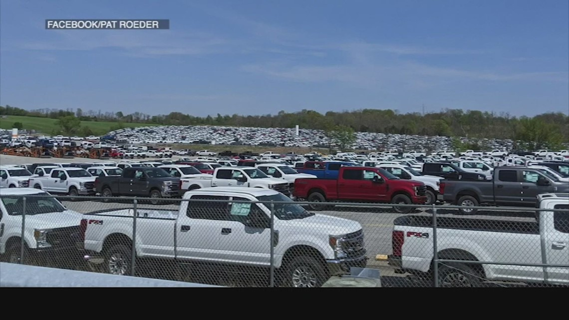 Ford F-150 trucks crowd Kentucky Speedway as company faces microchip shortage
