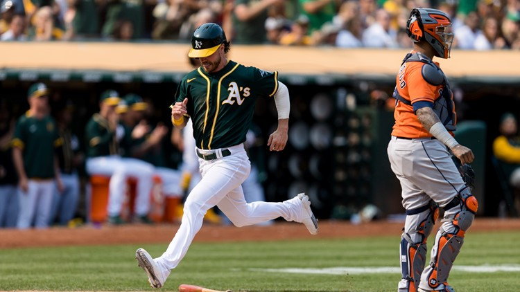 Marte's double in 9th lifts A's 2-1, stalls Astros