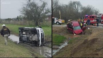 Crash sends Fort Bend County patrol unit into ditch