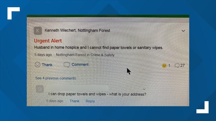 The message Wiechert posted to her Nextdoor page
