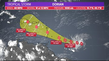 TD #5 strengthens to become Tropical Storm Dorian; could near hurricane strength by Tuesday