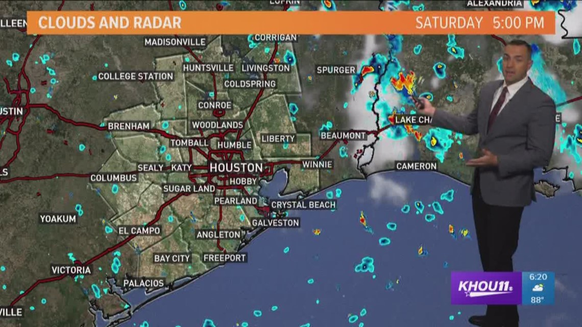 houston weather forecast for saturday evening