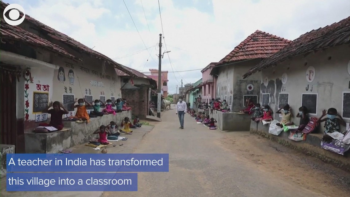 Teacher in India sets up village classroom for students affected by the coronavirus pandemic