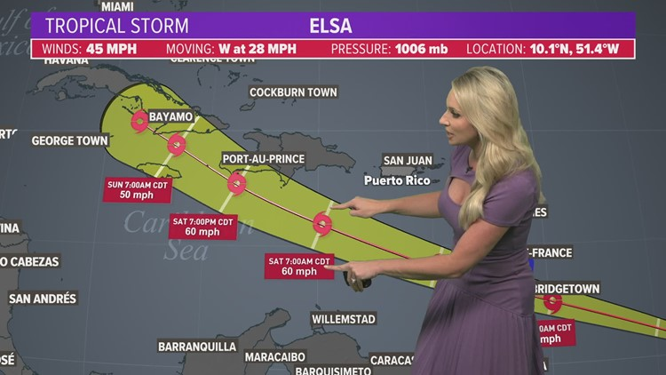 Houston weather: Hot, muggy, scattered showers as we track Tropical Storm Elsa   Noon update