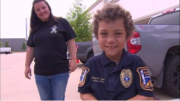 Officer Abigail presented with gifts and surprises from Freeport police
