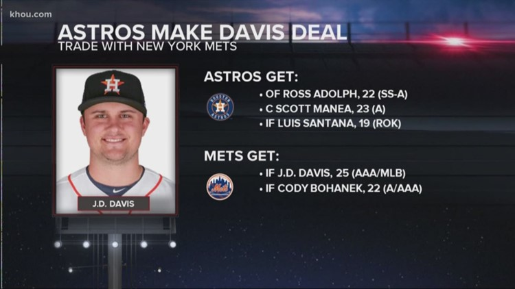 Astros deal J.D. Davis to Mets for 3 prospects