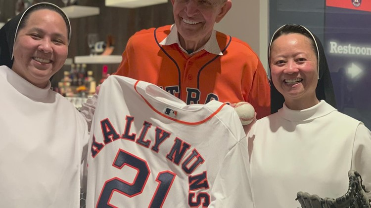'Rally Nun' throwing first pitch at Game 6 of ALCS