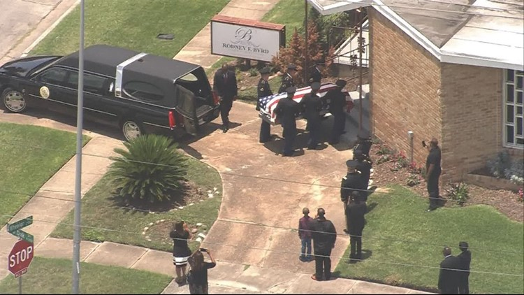 Sgt. Hall's remains are taken to a Houston funeral home on Tuesday, July 3, 2018.