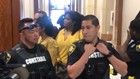 Watch: Maleah Davis's mother guarded by constables outside courtroom