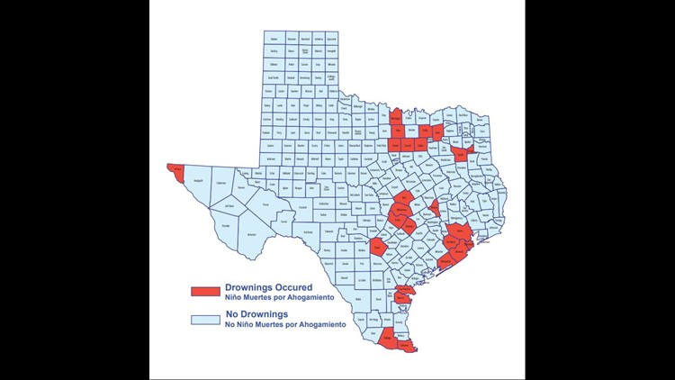 Child drownings across Texas, as of June 17th