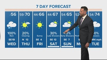 Rain moving into the Houston area early Wednesday