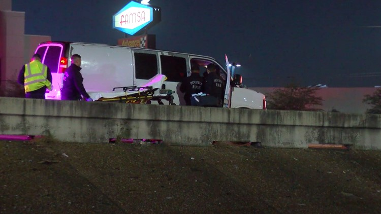 Firefighters found the woman in labor in a van stopped on the freeway's shoulder