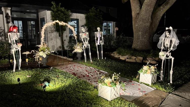 Mr. & Mrs. Bones: Pearland homeowner creates Halloween display that changes every day