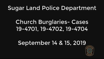 Suspected burglar caught on video breaking into Sugar Land churches
