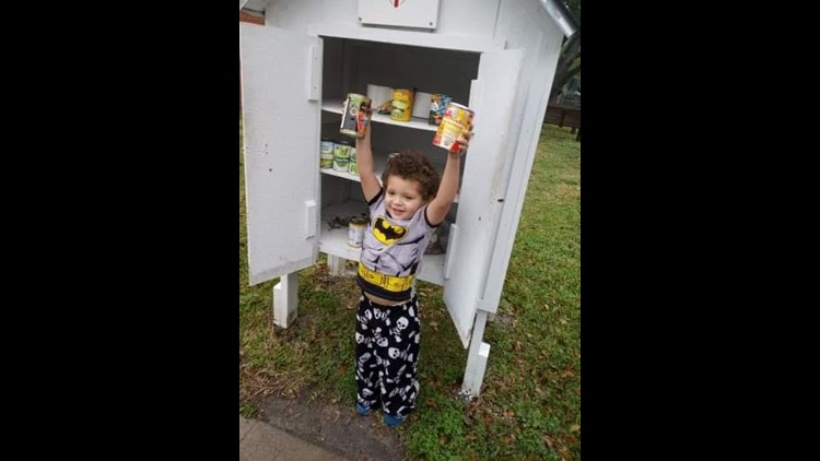 An Alvin boy grabbed some things from his house and asked his mom to drive him to a blessing box near their house so he could help his neighbors.