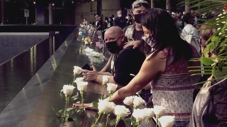 On the eve on the 20th anniversary 9/11 attacks, people pay their respects at memorial sites