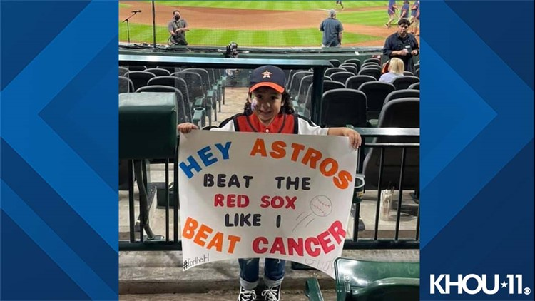 Hey Astros, Beat the Red Sox like I beat cancer | 4-year-old fan for the win!