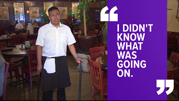 'He had an angel on his back' | Employee OK after tire flies through restaurant window